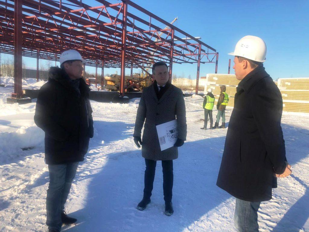 На строительной площадке рыбоперерабатывающего завода в Кондопоге